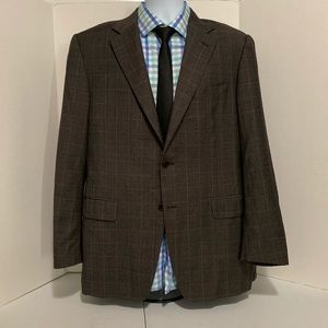 Canali Gray charcoal checkered sport coat US 42R